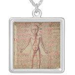 Anatomia do corpo humano colar com pendente quadrado