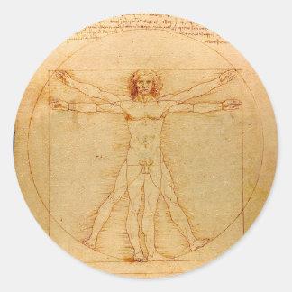 Anatomia humana, homem de Vitruvian por Leonardo Adesivo Redondo