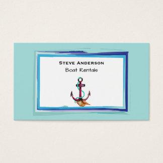 Âncora com corda e Seashell no fundo verde Cartão De Visitas