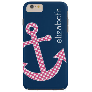 Âncora cor-de-rosa bonito das bolinhas com nome do capas iPhone 6 plus tough
