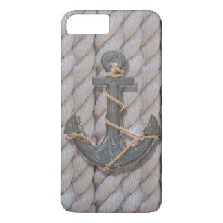 âncora de madeira do marinho formal da corda da capa iPhone 7 plus