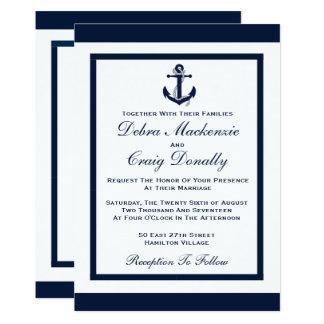 Cartão Âncora do marinho - convite do casamento