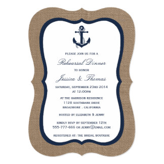 Âncora do marinho no jantar de ensaio náutico de convite 12.7 x 17.78cm