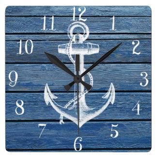 Âncora e madeira brancas do azul do vintage relógios de pendurar