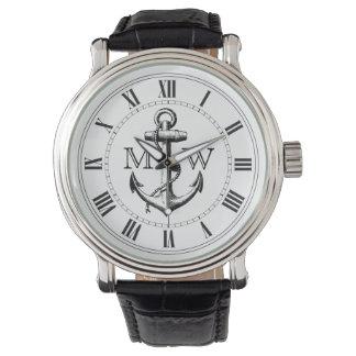 Âncora, monograma náutico relógios de pulso