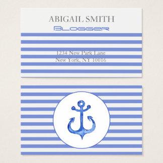Âncora náutica - cartões de visitas listrados dos