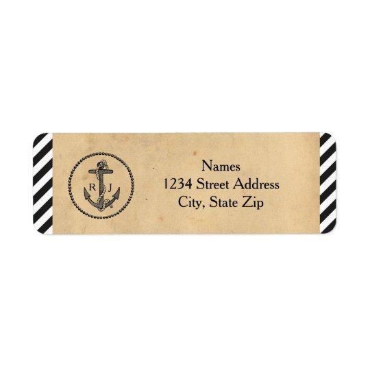 Âncora náutica do vintage - etiquetas de endereço