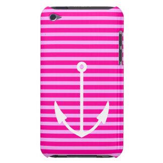 Âncora náutica listrada cor-de-rosa - capa do ipod capa para iPod touch