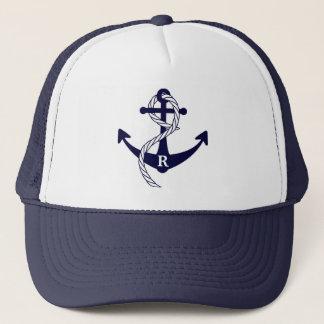 Âncora náutica monograma inicial personalizado boné