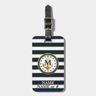 Âncora náutica no marinho/ouro etiqueta de bagagem