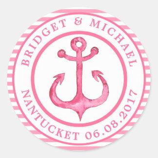 Âncora náutica - rosa quente listrado adesivo