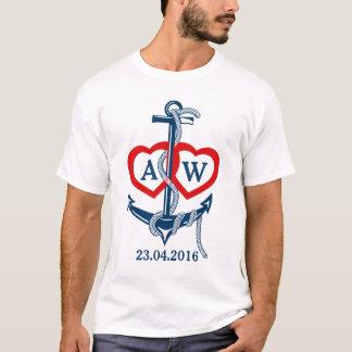 Âncora náutica wedding personalizada do t-shirt camiseta