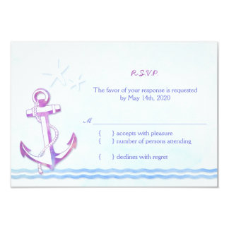 Âncora roxa + Casamento de praia RSVP da estrela Convite 8.89 X 12.7cm