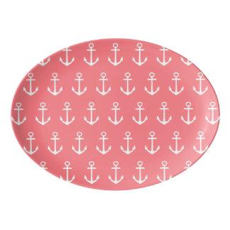Âncoras brancas náuticas no rosa coral tropical travessa de porcelana