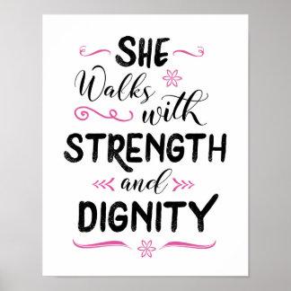 Anda com impressão da arte da força e da dignidade