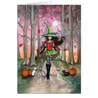 Andando o cartão da bruxa do Dia das Bruxas dos