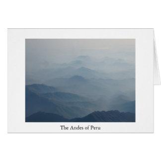 Andes do cartão de Peru