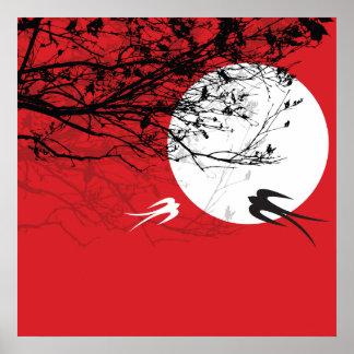 Andorinhas orientais no poster do vermelho do zen