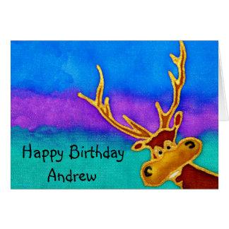 Andrew, cartão parvo do veado do feliz aniversario