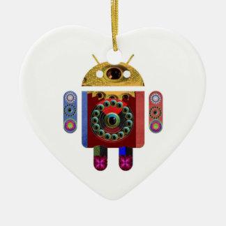 ANDROID por Navin Joshi Ornamento De Cerâmica Coração