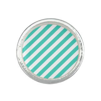 Anéis Cerceta e teste padrão diagonal branco das listras