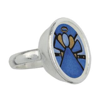 Anéis Com Foto Anjo azul abstrato moderno