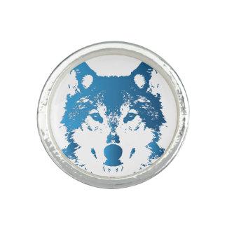 Anéis Com Foto Lobo do azul de gelo da ilustração