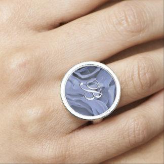 Anéis Com Foto Luz delicada - os rosas das cinzas azuis florescem