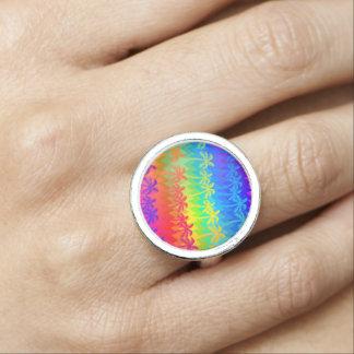Anéis Com Foto Palmeiras do arco-íris