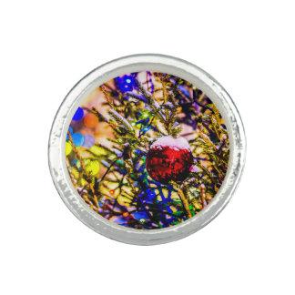 Anéis Com Foto Vermelho da bola do Natal