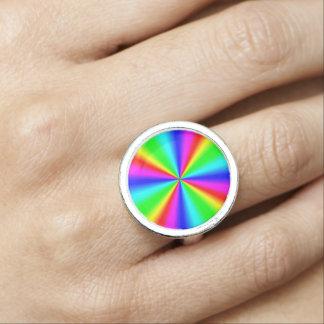Anéis Com Fotos Arco-íris brilhante colorido
