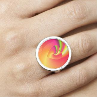 Anéis Com Fotos Coração do amor do redemoinho do arco-íris