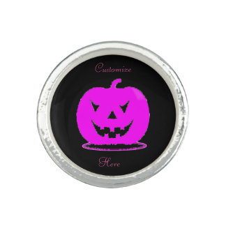 Anéis Com Fotos Jack cor-de-rosa o Dia das Bruxas o'lantern