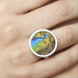 Anéis Com Fotos Pavão colorido
