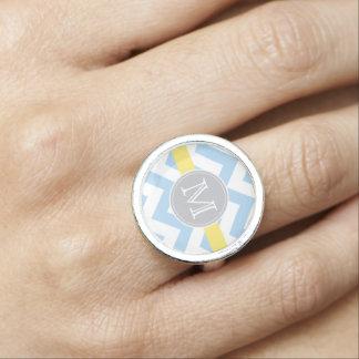 Anéis Com Imagem Azul-céu Chevron, listra do limão e quadro do