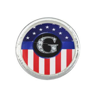 """Anéis Com Imagem Bandeira dos EUA Ameican com o diamante do """"falso"""""""