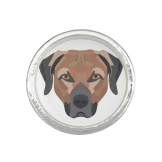 Anéis Com Imagem Cão Brown Labrador da ilustração