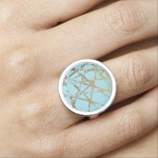 Anéis Com Imagem Moderno, abstrato, pintado mão, o ouro alinha a