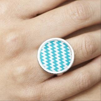 Anéis Com Imagem Turquesa e viga diagonal branca