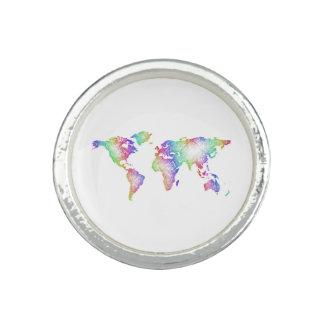 Anéis Com Imagens Mapa do mundo do arco-íris