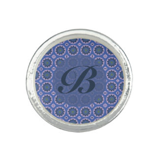 Anéis Com Imagens Monograma floral azul bonito do teste padrão