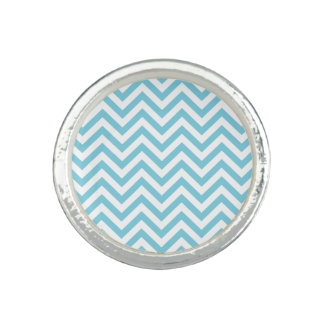 Anéis Com Imagens O ziguezague azul e branco listra o teste padrão