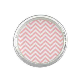 Anéis Com Imagens O ziguezague cor-de-rosa e branco listra o teste