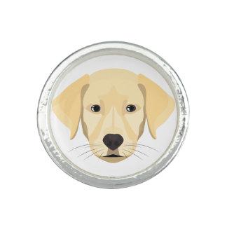 Anéis Com Imagens Ouro Retriver do filhote de cachorro da ilustração