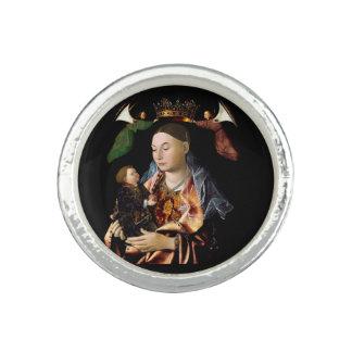 Anéis Com Imagens Salgando Madonna e a criança do cristo