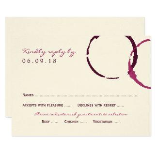 Anéis da mancha do vinho do cartão de resposta |