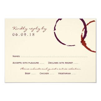 Anéis da mancha do vinho do cartão de resposta | convite 8.89 x 12.7cm
