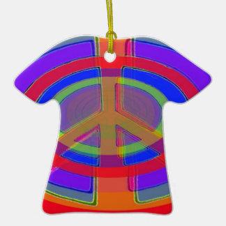 Anéis da paz ornamento de cerâmica camiseta