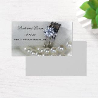 Aneis de diamante e pérolas que Wedding o Web site Cartão De Visitas