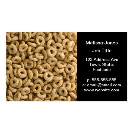 Anéis do cereal de pequeno almoço cartão de visita